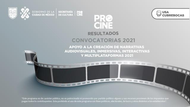 RESULTADOS DE LA CONVOCATORIA: APOYO A LA CREACIÓN DE NARRATIVAS AUDIOVISUALES INMERSIVAS, INTERACTIVAS Y MULTIPLATAFORMAS 2021