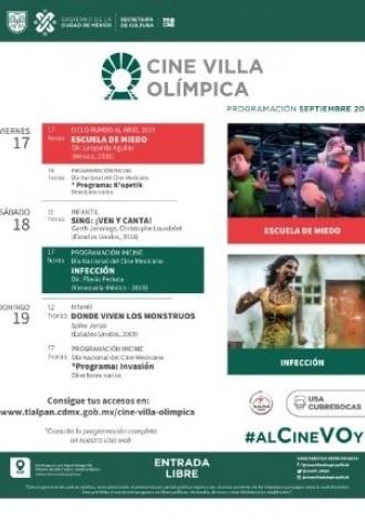 Cartelera Cine Villa Olímpica del 17 al 19 de septiembre de 2021